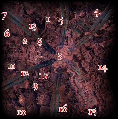 Karte von Arah mit markierten Bosspositionen