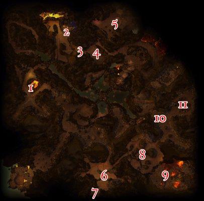 Karte von der Flammenzitadelle mit markierten Positionen der Bosse