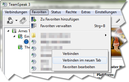 Favoriten im TeamSpeak