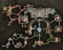 Eine Karte von den Katakomben von Ascalon; die Positionen der Bosse werden durch Nummern angezeigt