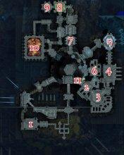 Karte des Schmelztiegels der Ewigkeit mit markierten Bosspositionen