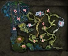 Eine Karte des Zwielichtgartens mit Bossmarkierungen